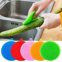 10pcs Kitchen Cleaning Brush Silicone Dishwashing Circular Dish Washing Fruit and Vegetable