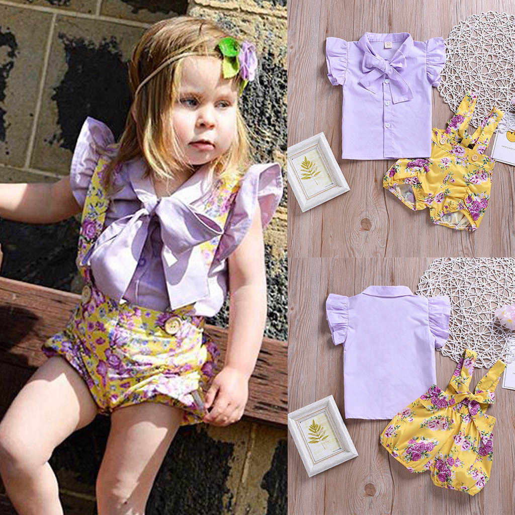 5369de62ca45 CHAMSGEND Toddler Baby Girls Cotton Blend Solid Bow T-Shirt Tops+Floral  Print Overalls Shorts Fashion Outfits 19MAR16 P30