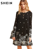 SheIn Casual Dresses For Woman Mini Dress Women Clothes Elegant Dress Vintage Black Retro Circle Print
