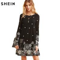 SheIn Casual Dresses For Woman Mini Dress Women Clothes Elegant Dress Vintage Black Retro Circle Print