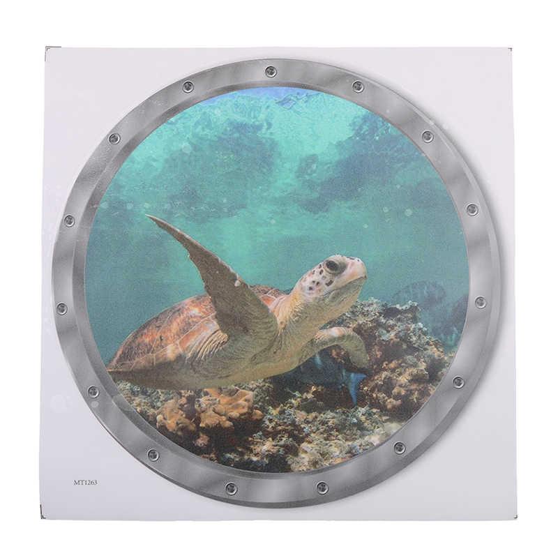 5 Styles sous-marine poisson Stickers muraux PVC étanche dauphin tortue autocollant pour Machine à laver décoration pour salle de bain décalcomanies