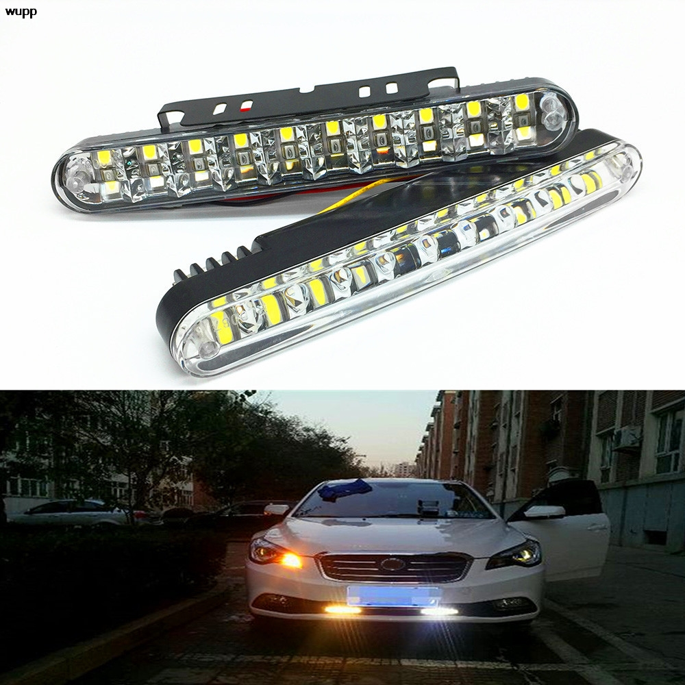 wupp 2PC 30LED Multi-Function Vehicle Daytime Traffic Lights with Color Steering Daytime Running Lights