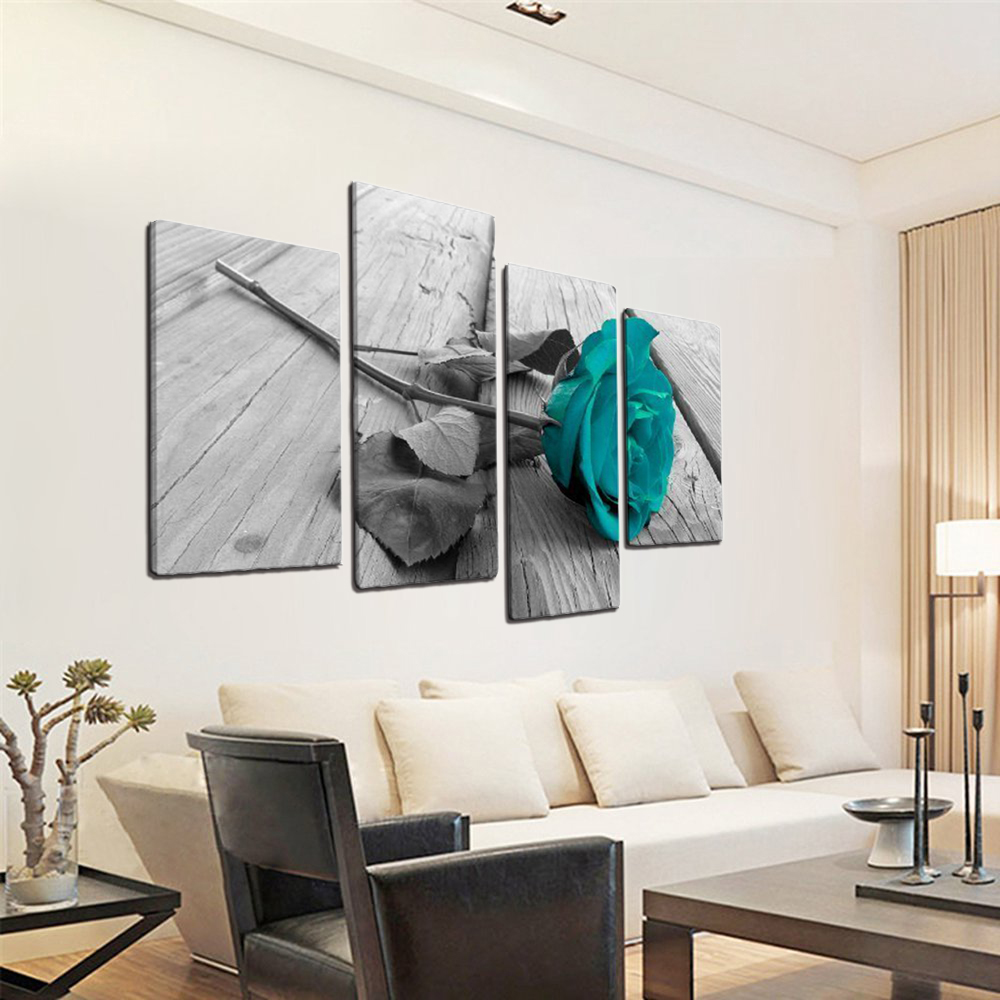 Us 14 4 20 Off 4 Piece Large Blue Rose Floral Canvas Wall Art Picture On Grey Split Set Big Modern Flowers Home Decor Print Multi Turquoise Art In