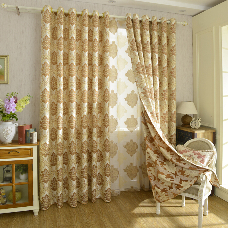 window curtains heavy fabric high quality with gold wire embed black