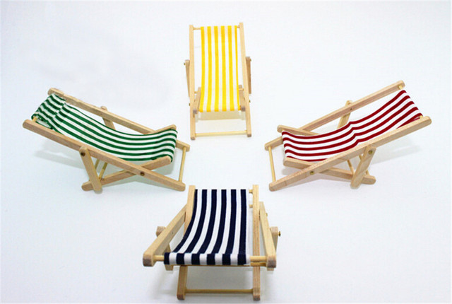 2017 NEW 1:12 Scale Foldable Wooden Deckchair Lounge Beach Chair For Lovely  Miniature For
