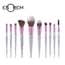 ESOREM 10 Pcs Flash Powder Makeup Brushes Crystal Handle Professional Pencil Shader Pinceaux Maquillage 070501