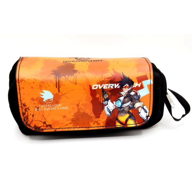 Kids Comics overwatch marvel superman Pencil Case Big Capacity double zipper Cosmetic bag woman make up Purse Kids Wallets