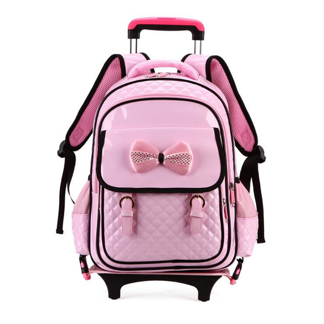 Cute Princess Style Trolley Backpack Girls 2017 New Korean Version Pink Color PU Leather Wheeled Bag School Removable Mochila