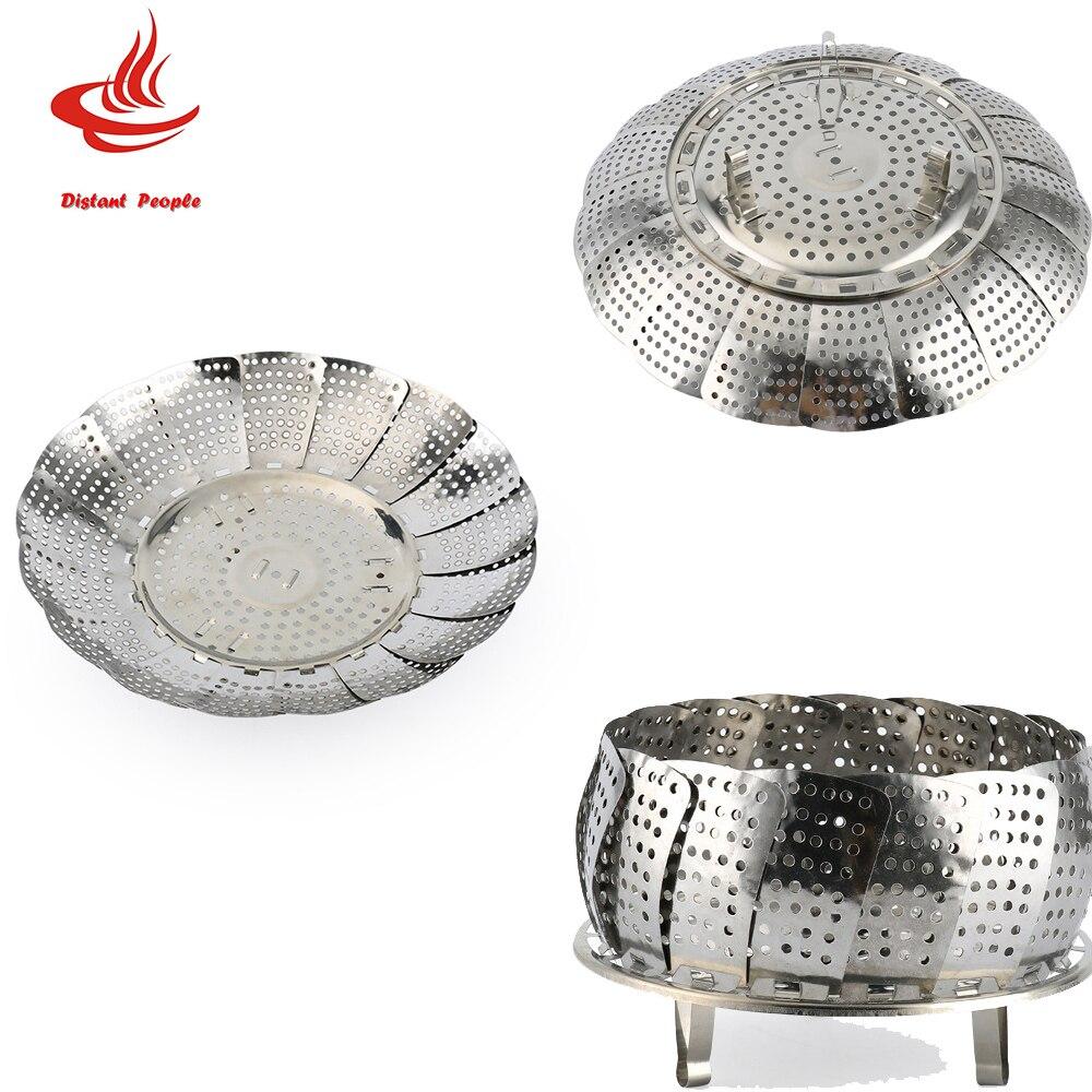 1pc Stainless Steel Folding Dish Steamer Food Basket Mesh Vegetable Vapor Cooker Steamer Expandable Pannen Kitchen Tool