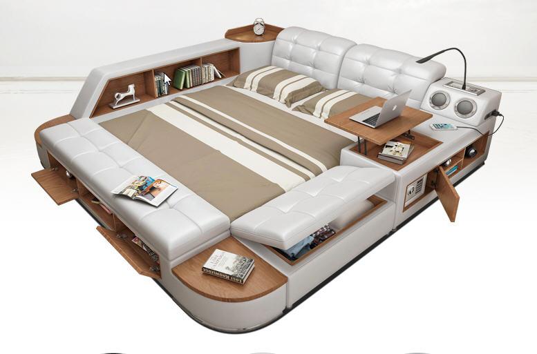 Real Genuine Leather Bed Frame Soft Beds Camas Lit Muebles De Massage Safe Desk Table Speaker Bluetooth LED Light Book Cabinet