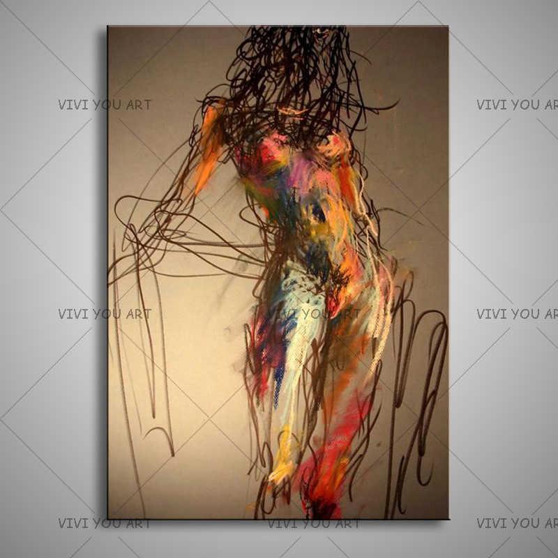 Muro Dipinto A mano Pittura dipinta A mano di Pittura a Olio Figura Astratta Su Tela di Canapa Sexy Nude Dipinti di Arte Impressionst Immagine Decor