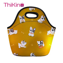 Thikin Lovely Bulldog Lunch Bag For Women Cute Dog Printing Thermal Lunchbox Travel Lancheira Kid Girl Cooler Food lunchbag