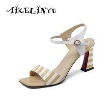 AIKELINYU Lady Shoes Peep Toe Sandals 2019 Handmade Pumps Elegant Stripe Square High Heel Solid Patent Leather Summer Women Shoe