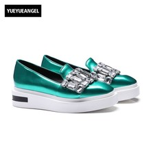 2017 Euro Street Loafers Thick Platform Creepers Woman Shoes Fashion Crystal Design Faux Patent Leather Girls Square Toe Pumps