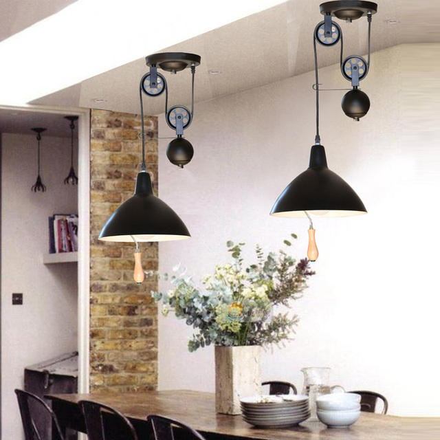 Regron Retro Pendant Lights Pulley Line Adjustable Hanging Lamp Country Black White Iron Pendant Luminary For Home Bedroom Cafe