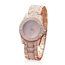 Women font b Watch b font Full Diamond Sand Drill Surface Women Round Surface Stainless Steel