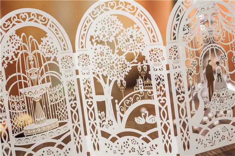 tri folded wedding invitation cards laser cut customization post