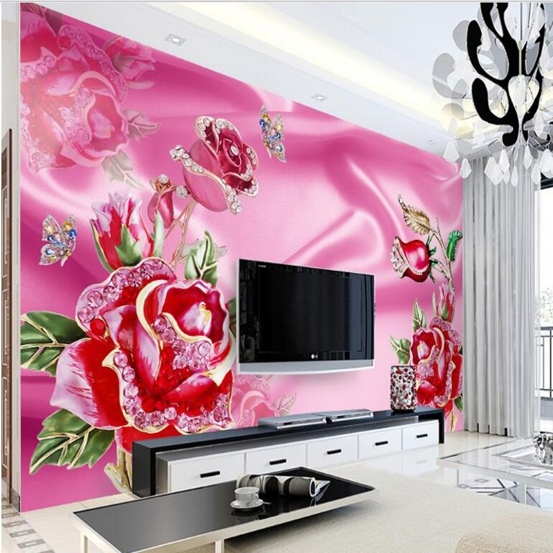 Large 3d European Pearl And Rose Jewelry Tv Background: Beibehang Customized Large Fresco Luxury European Jewelry