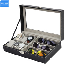 2017 caliente nuevo diseño de gafas de sol y relojes expositor de regalo negro PU tiempo de almacenamiento caja de reloj de la hora de cuero organizador de joyas