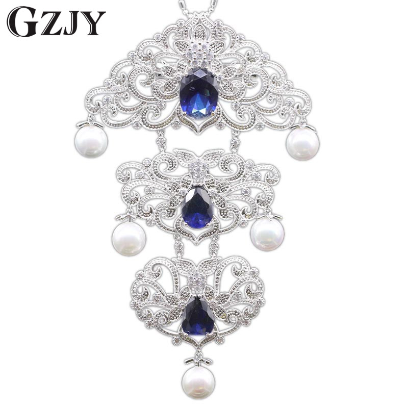 GZJY Vintage Style Gold Pated Shell Pearl AAA Zircon Party Brooch/Pendant Multiple Use Clothes Pins Accessories