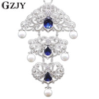 10Colors Vintage Style Platinum Gold Pated Shell Pearl AAA Zircon Party Brooch Pendant Multiple Use Clothes