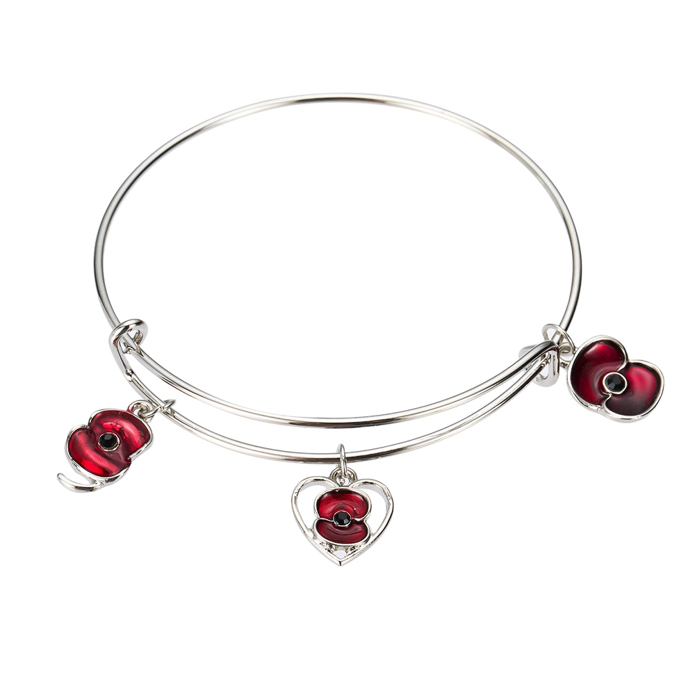 Us 13 0 2017 Stailess Steel Expandable Bangle Bracelets With Poppy Flower Charms In Charm From Jewelry Accessories On Aliexpress