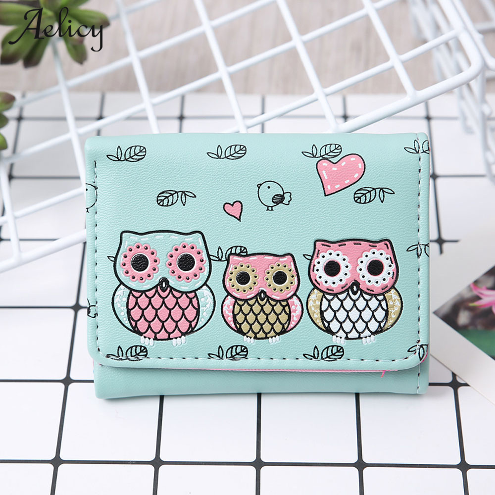 Aelicy PU Vintage Printing Cartoon Owl Coin Purse 2017 New Design Embroidery Hasp Fashion Men Women Wallet Leather Clutch Bags