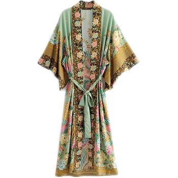 Bohemian V neck Peacock Flower Print Long Kimono Shirt Ethnic New Lacing up With Sashes Cardigan Loose Blouse Tops femme