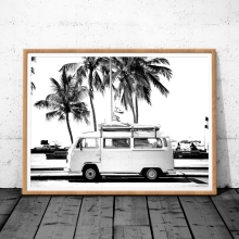 Vintage Coastal Photography Print Retro Van VW Camper And Black Palm Tree Canvas Painting Wall Picture Coastal Art Decor