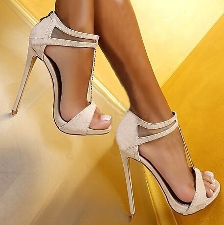 Real Photo Hot Selling Black Pink Beige Suede Leather Ankle Strap Cut-out Sandals High Heel T-bar Crystal Summer Dress shoes wom hot selling crystal summer dress shoes black pink beige suede leather ankle strap cut out sandals high heel t bar real photo