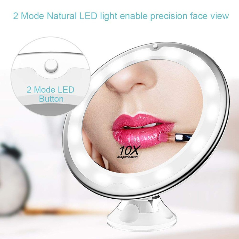 10X Magnifying Light Up Makeup Mirror With Power Locking Suction Cup 360 Degrees Rotating Adjustable Mirror Home Travel Bathroom 1