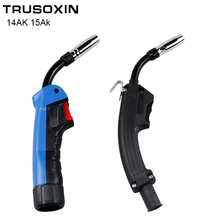цена на CO2 Mig Mag Welding Torch Air Cooled MB 1PCS 14AK 15AK Swan Neck Contact Tip Holder Gas Nozzle Solenoid Valve