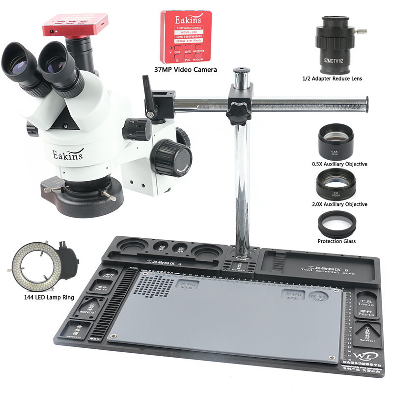 3.5-90X Simul Zoom Focal Microscope stéréo trinoculaire 37MP HDMI USB caméra vidéo en aluminium établi Stand téléphone PCB réparation