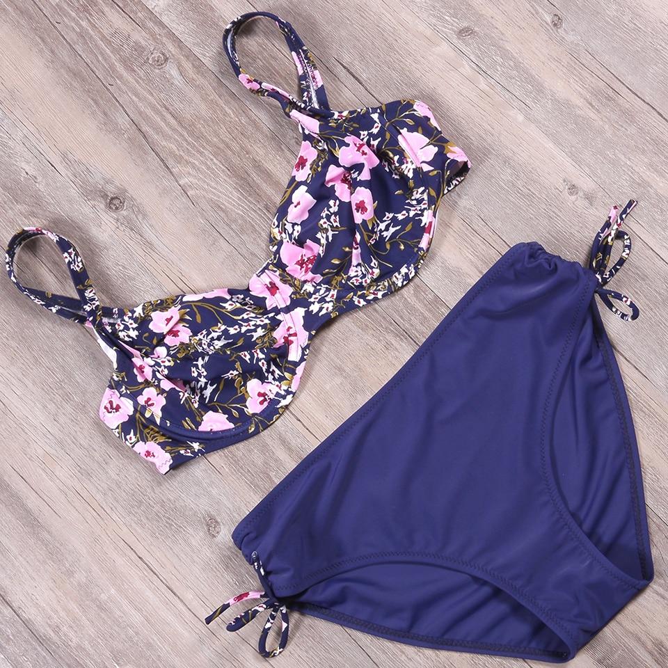 b8a30c6ecf1 2018 New Sexy Bikini Women Swimsuit Push Up Swimwear Flower Frenulum Witty  Charm Bikini Set Beach