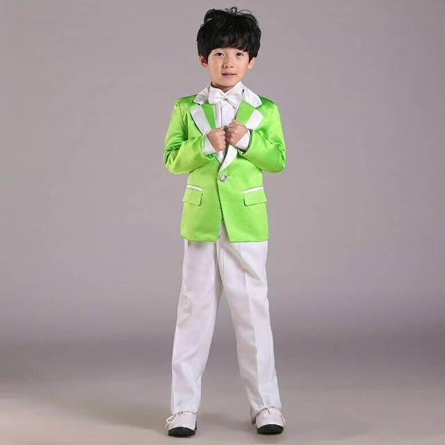 Fashion kids wedding suits kids wear Green boys tuxedo (jacket+ ...