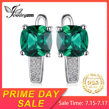 JewelryPalace Cushion 3.1ct Created Nano Russian Emerald Earrings 925 Sterling Silver Earrings Fine Jewelry for Women(China)
