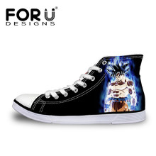 FORUDESIGNS Cool Dragon Ball Super Saiyan God Anime Print High Top Men Vulcanized Shoes Casual Canvas Cartoon for Boys