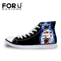 FORUDESIGNS Cool Dragon Ball Super Saiyan God Anime Print High Top Men Vulcanized Shoes Casual Canvas Cartoon Shoes for Men Boys