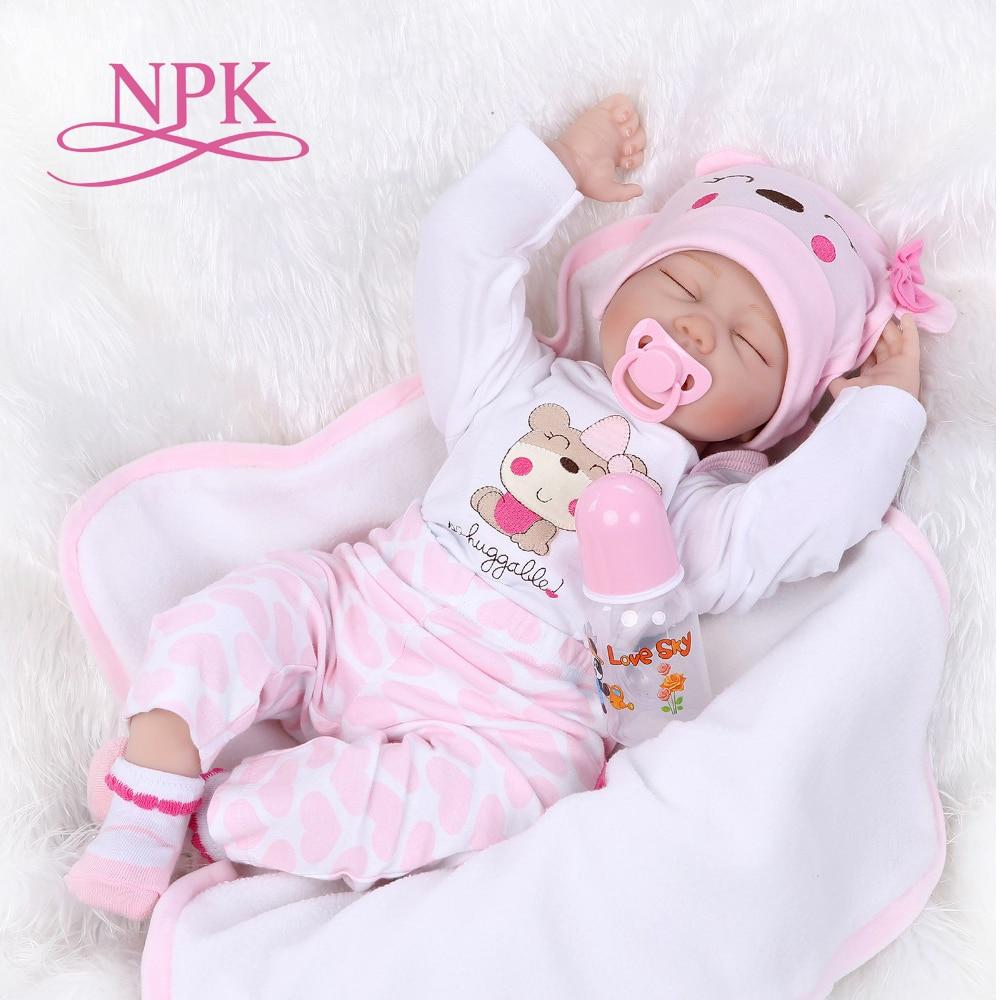 NPK 55เซนติเมตรซิลิโคนของเล่นตุ๊กตาทารกเกิดใหม่เหมือนจริงนอนทารกแรกเกิดสาวเด็กเล่นบ้านสาวของขวัญวันเกิดrebornตุ๊กตา-ใน ตุ๊กตา จาก ของเล่นและงานอดิเรก บน   1