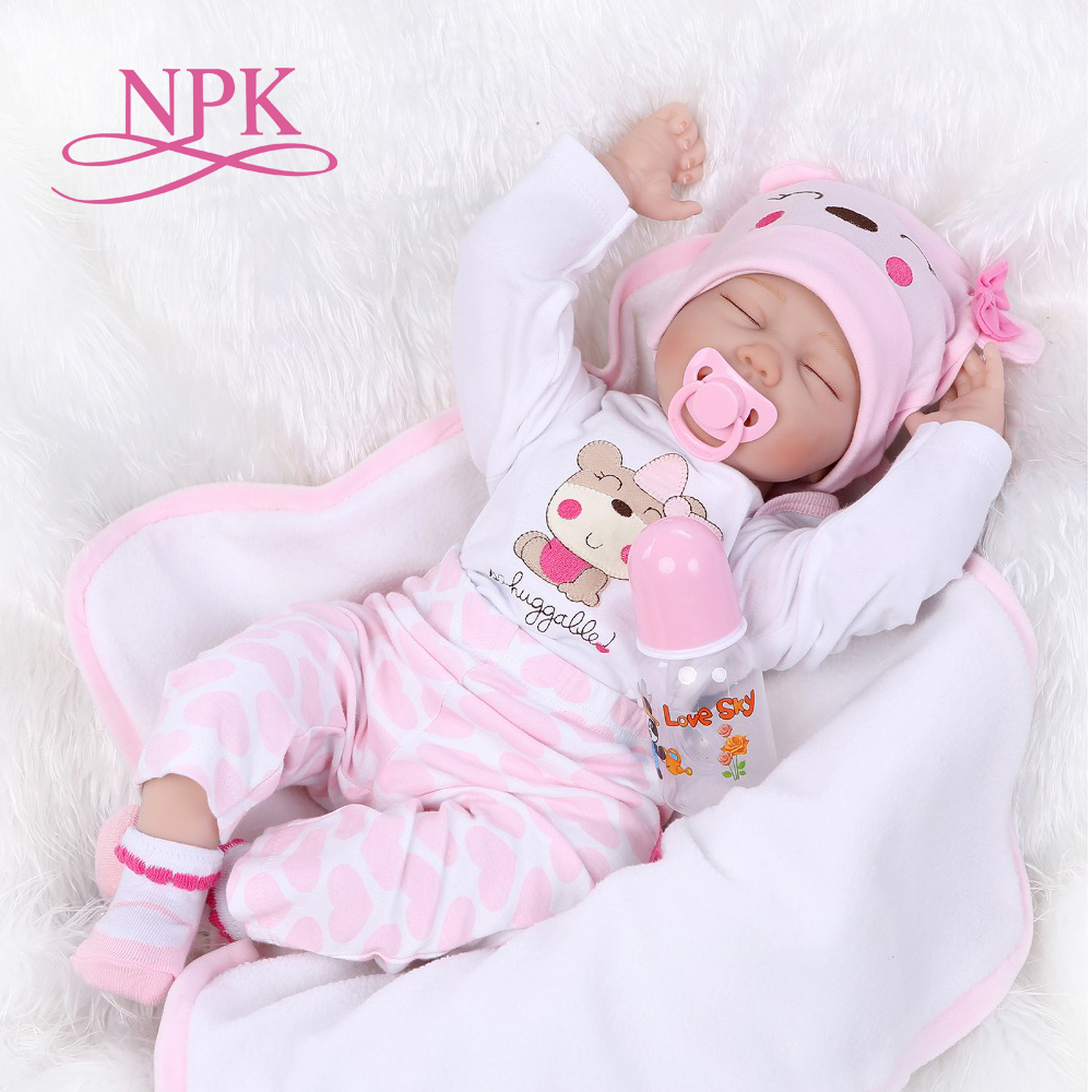 купить NPK 55cm silicone reborn baby doll toys lifelike sleeping newborn girls baby play house girls birthday gifts reborn doll по цене 3874.63 рублей