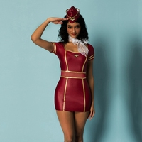Sexy Stewardess Costume Women Rose Red Latex Fancy Dress Hot Erotic Air Hostess Waitress Costuems For Halloween Cosplay Party