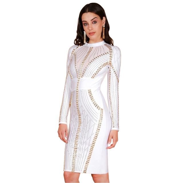 dcf92be97bd S Curve Women s Crystal Stone   Stud Embellished Bandage Dress Bodycon Long  Sleeve Mini Party Bodycon