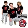 Летняя футболка для девочек  футболка для мальчиков  футболки для малышей  топы для детей с волшебным обесцвечиванием  блестящим принтом «Ч...