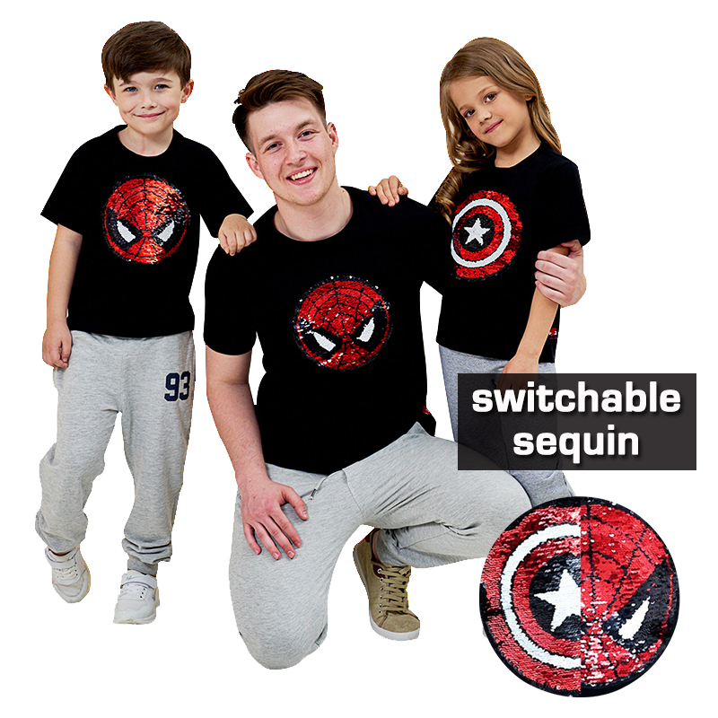 Summer Spiderman Captain heart switchable sequin baby girls tee shirt boys glitter T shirt kid magic discoloration tops 2-12 yrs