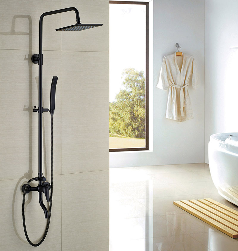 Bath Rainfall Shower Set Oil Rubbed Bronze Square Shower With Hand Shower Mixer Faucet Wall Mounted