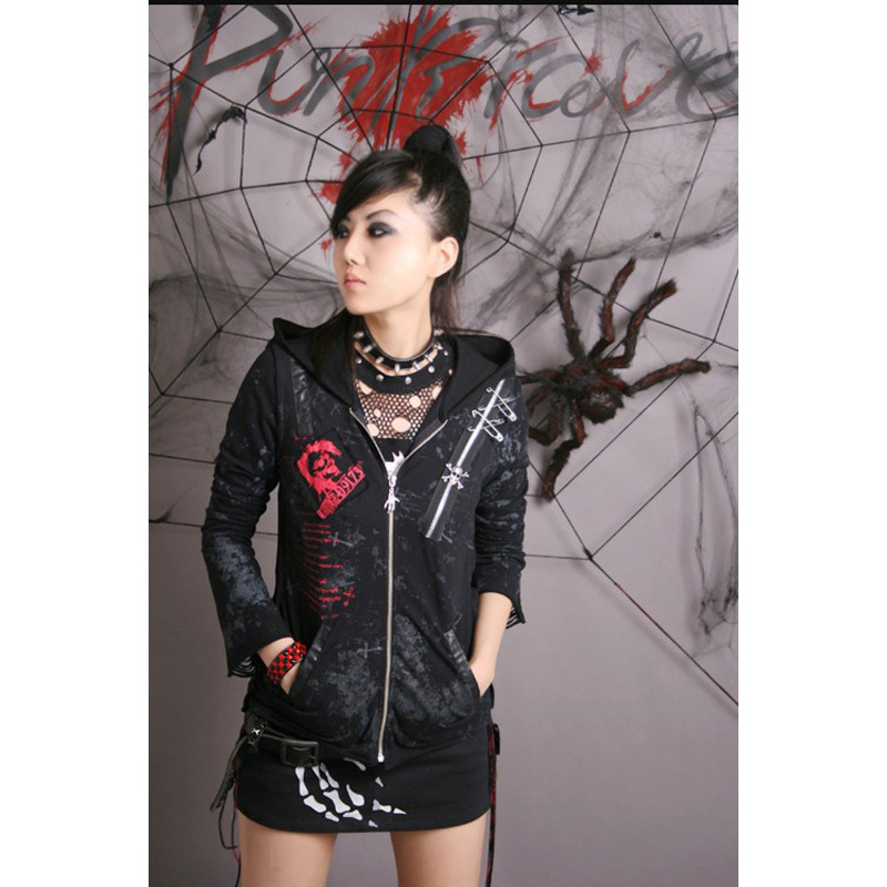 Punk Rave Gothic Visual Kei Womens Mens Black Coat Jacket