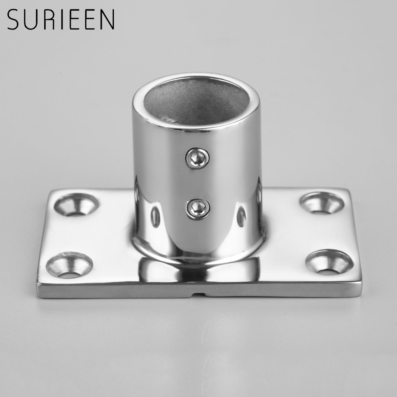 Citall 1pc Silver Zinc Alloy Marine Hand Rail Fitting 90 Degree 1 Round Stanchion Base For Ship Boat Vessel Yacht Professional Design Boat Parts & Accessories
