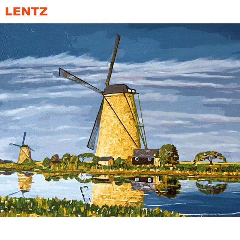 Le Danois moulins à vent peinture à l'huile par numéros dessin photos sur coton décoration de la maison cadeau unique pour les amis peinture picture2.0