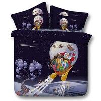 クリスマスベッドリネン子供3d印刷サンタクローススターナイト掛け布団カバー寝具セット3/4ピースベッドカバーツイン女王王サイズ500tc