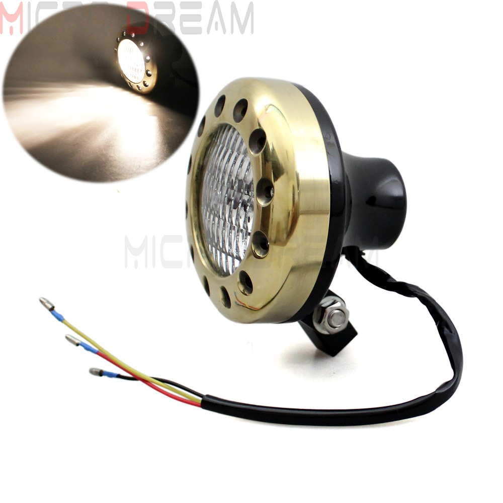 Emark Old School Drilled Halogen Bulbs Lighting Solid Brass 4-1/2 headlight w/ Clear Lens For Harley Bobber Chopper Glide SX650
